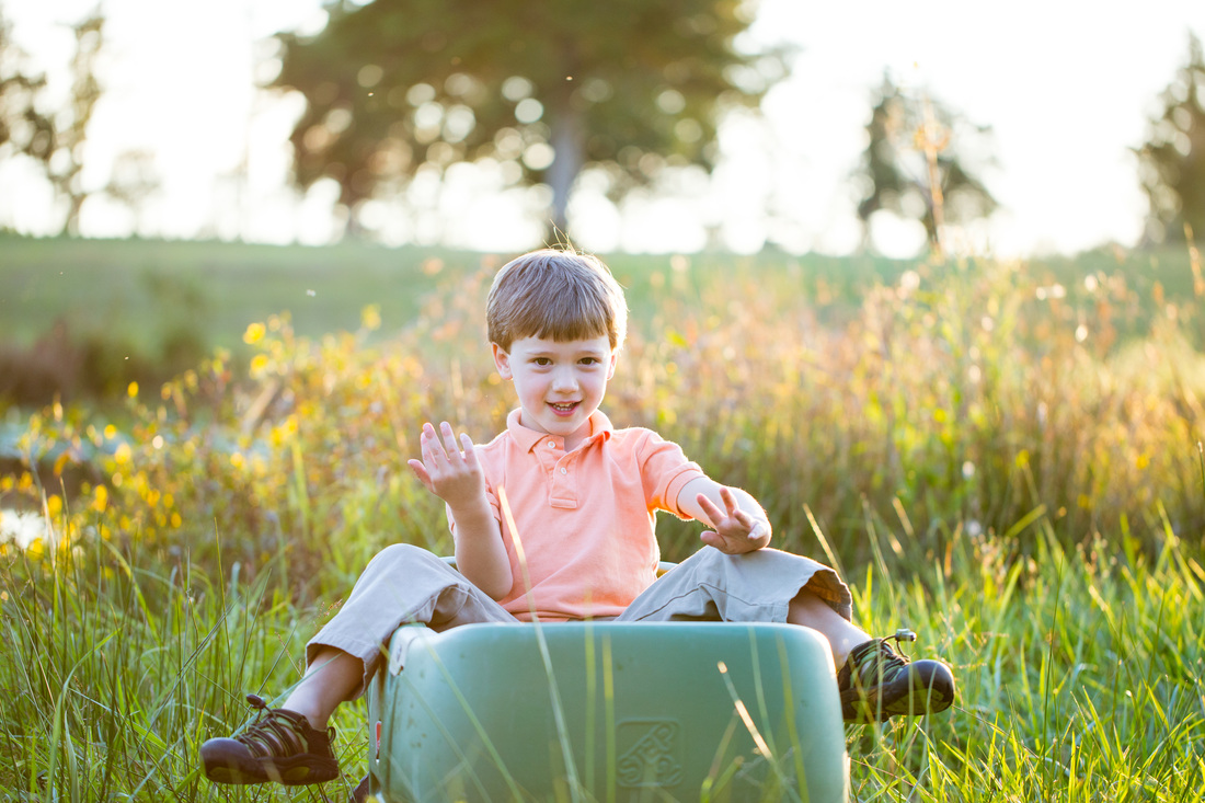 boy in wagon in country